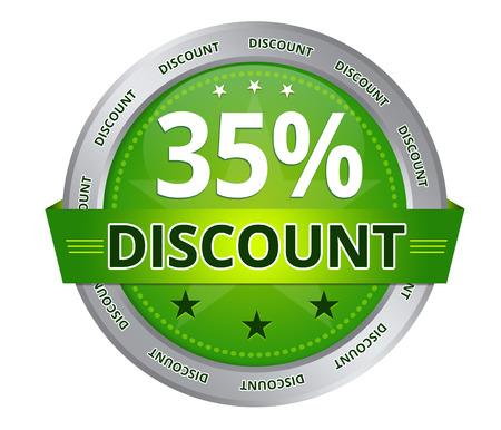 Green 35 percent Discount icon on white background Standard-Bild