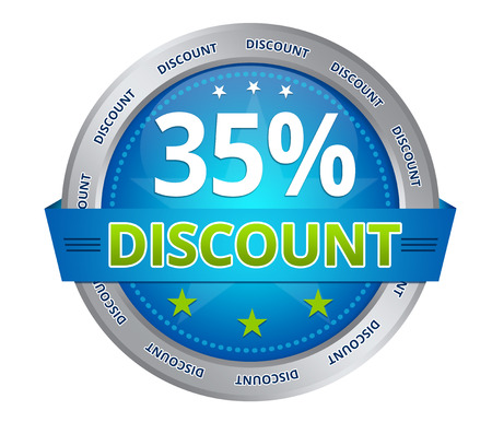 Blue 35 percent discount icon on white background
