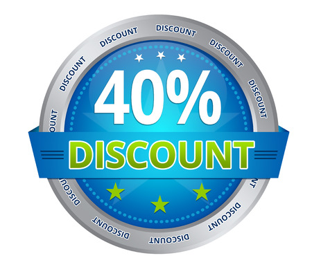 Blue 40 percent discount icon on white background Фото со стока - 25888168
