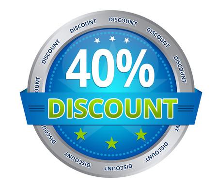 Blue 40 percent discount icon on white background Stockfoto