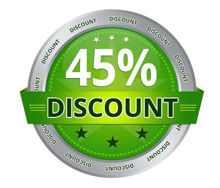 Verde 45 per cento di sconto icona su sfondo bianco