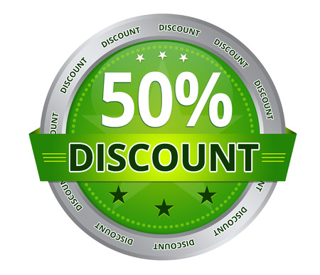 Green 50 percent Discount icon on white background