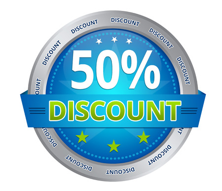 Blue 50 percent discount icon on white background