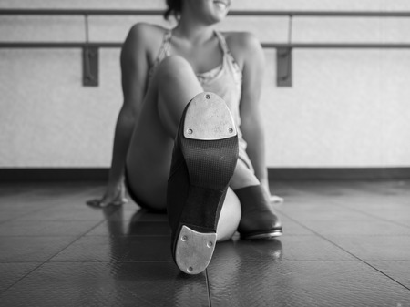 black and white version of Perspective-Tap Shoes on a Dancer