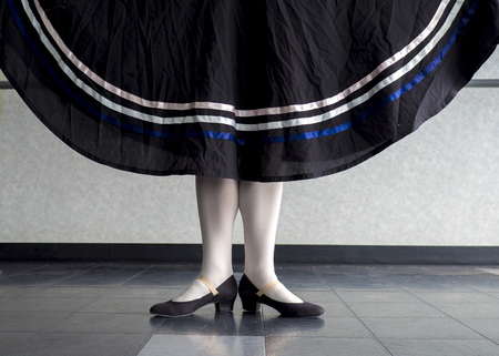 Character Ballet dancer in first position holding her skirt Imagens