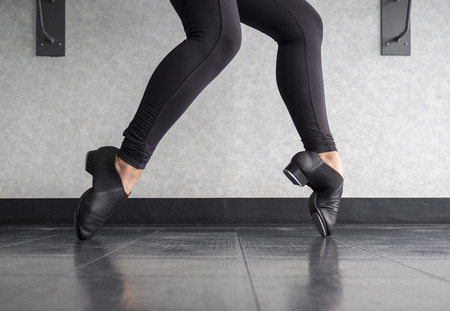 Tap shoe Toe Stand in Tap Class Stock Photo