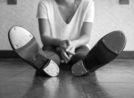 Black and white version of Bottom of tap shoes of a dancer Reklamní fotografie