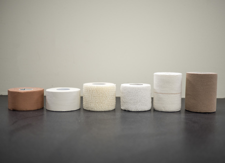 Different types of athletic tape lined up on display