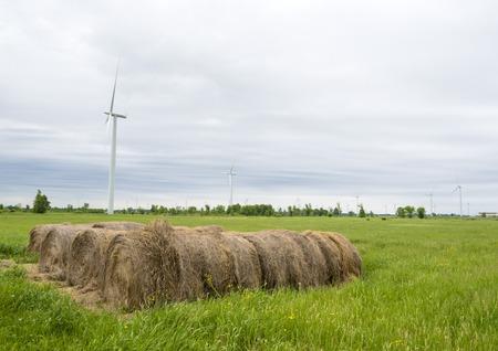 Landscape view of a wind turbine in the farming fields