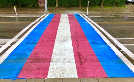 Transsexual Flag crosswalk on a rainy day during Pride.