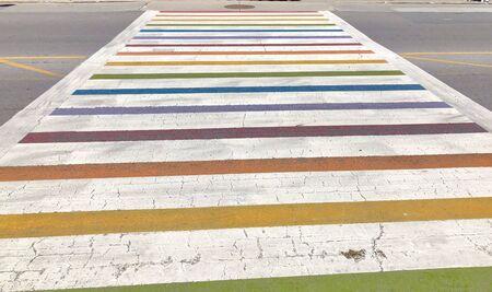 Rainbow Pride Crosswalk on the road 版權商用圖片