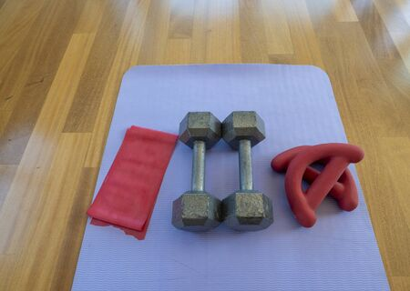 Overhead view of a pair of dumbbells, theraband exercise bands, and a yoga mat on hardwood floor