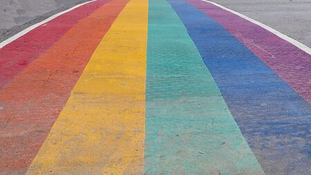 Close up of Pride Rainbow Sidewalk Crosswalk in downtown