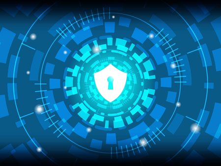 Cyber Security Concept : Shield on Digital Background. Vector Illustration