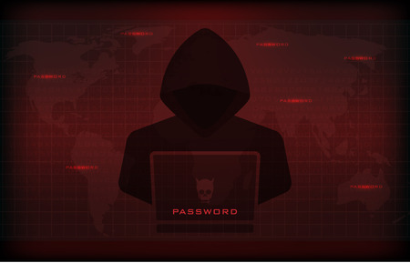 Cyber attack concept : Hacker using laptop, stealing confidential data as password