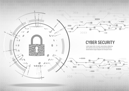 Cyber Security Concept : Close padlock on digital white background. Illustration