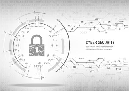 Cyber Security Concept : Close padlock on digital white background. Illusztráció
