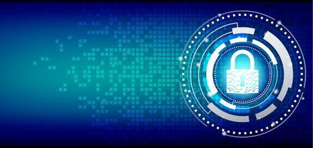 Concetto di sicurezza informatica: lucchetto chiuso su sfondo digitale a mosaico. Archivio Fotografico - 93480245