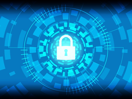 Cyber Security Concept : Closed Padlock on digital background. Illustration