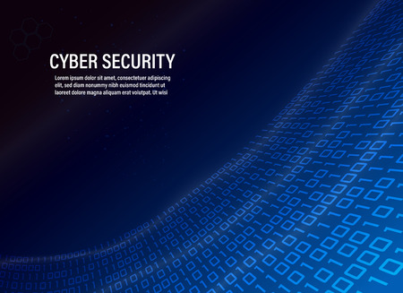 Vector, cyber security concept on binary code background