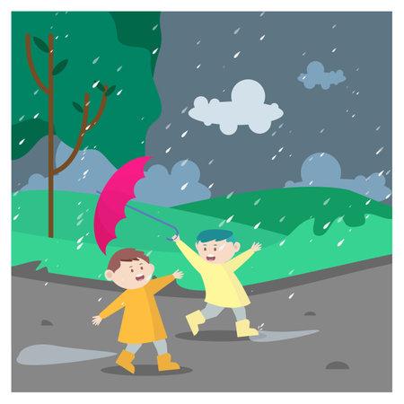 Vector illustration of kids having fun in the rain. Kids with raincoats and umbrellas. Ilustracja