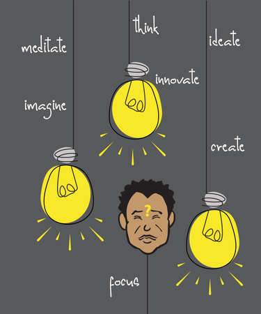 Vector illustration depicting a man concentrating, meditating, thinking about ideas to innovate. Ilustração
