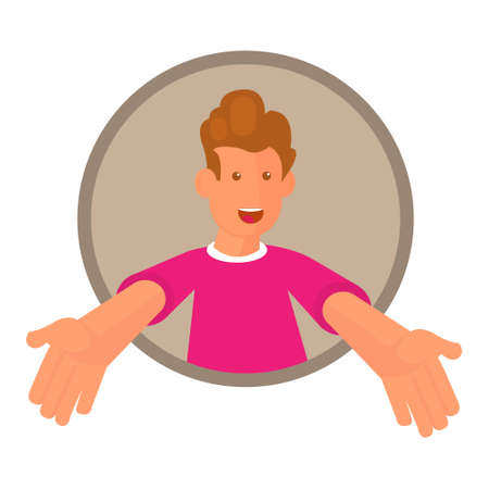 Vector illustration of a young man emerging out of a circular frame to present something.