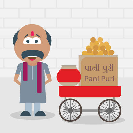 Vector illustration of a roadside food vendor with a hand cart stall selling Indian snack called pani puri which is also known as gol gappe, or puchka.