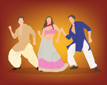 Vector illustration of a group of Indian people performing a Bollywood style wedding dance.  イラスト・ベクター素材