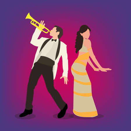 Vector illustration of a couple performing Bollywood style dance moves. Bollywood actors at work.  イラスト・ベクター素材
