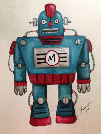 tin robot: Painting of a vintage tin toy robot   Stock Photo