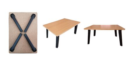 Wooden folding table japanese style standing on a isolated white background with clipping path. Banque d'images