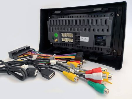 The back of car audio and Wiring set in soft focus, isolated on a white background Stock fotó