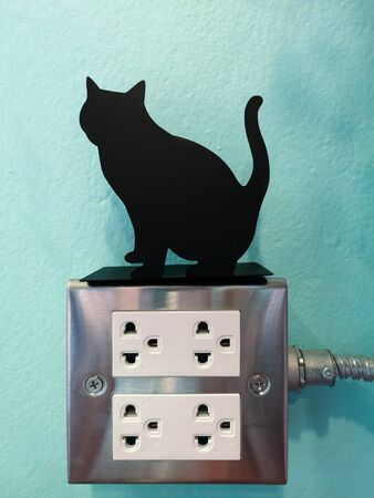 The decoration is a black cat. Put on electrical outlet Blue background with clipping path 版權商用圖片