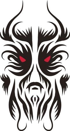 demon: Tatuaże kształty twarzy łatwe do ponownego wielkości lub zmiana koloru Ilustracja
