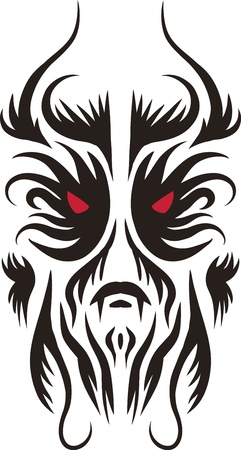 demonio: tatuajes formas de la cara fáciles de cambiar el tamaño o el color del cambio Vectores
