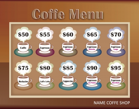 coffee menu: template designs of menu for coffee shop and restaurant, vector file