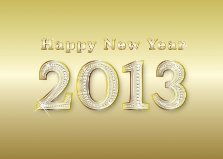 new year 2013  golden with diamonds, illustration Stock Illustration - 13784147