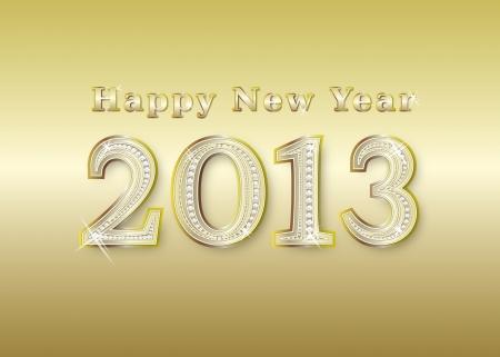 new year 2013  golden with diamonds, illustration illustration