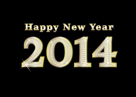 new year 2014  golden with diamonds, illustration illustration
