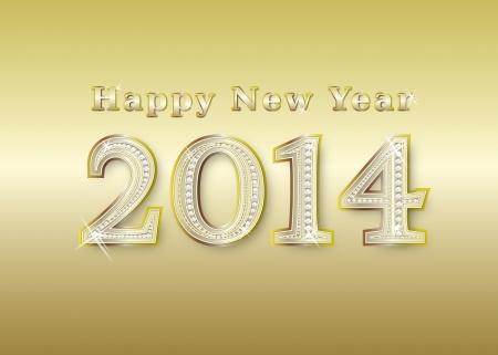 nouvelle année 2014 en or avec diamants, illustration Banque d'images - 13784145