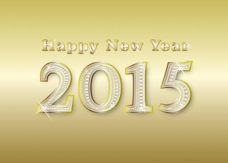 new year 2015 golden with diamonds, illustration illustration