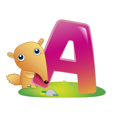 illustration of isolated animal alphabet A with anteater on white
