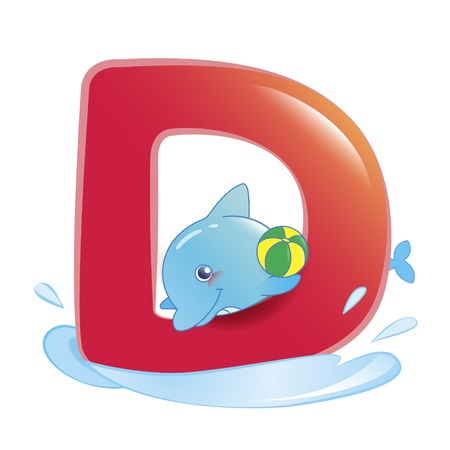 illustration of isolated animal alphabet D with dolphin on white