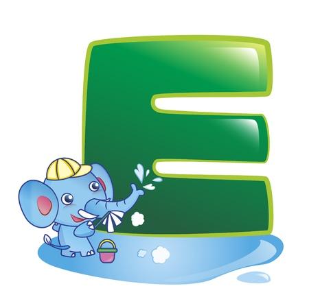 illustration of isolated animal alphabet E with elephant on white