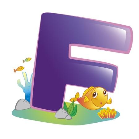 illustration of isolated animal alphabet F with fish on white