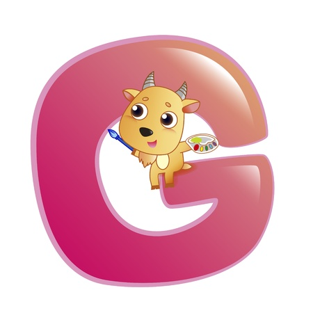illustration of isolated animal alphabet G with goat on white Vector