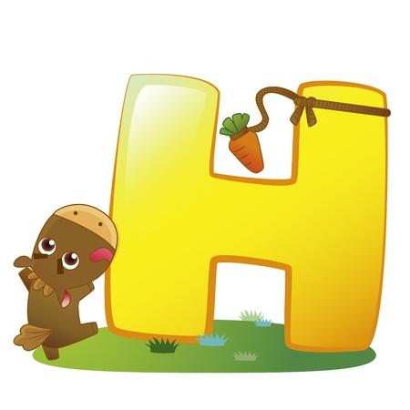 illustration of isolated animal alphabet H with horse on white