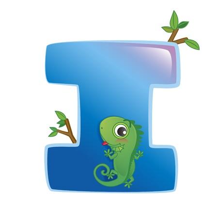 illustration of isolated animal alphabet I with iguana on white 일러스트