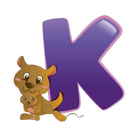 illustration of isolated animal alphabet K with kangaroo on white 일러스트